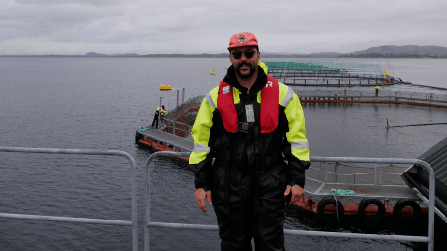 Prospective Research's Jake Cotter, pictured at a fish farm during time on the Hatch accelerator programme last year. Photo: Hatch.