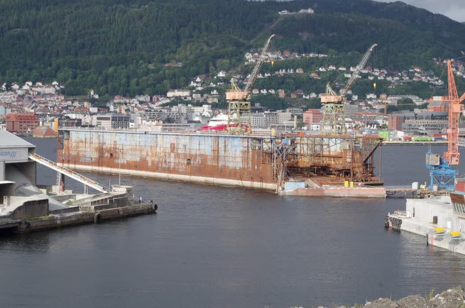 Flytedokken, da den fremdeles lå i Laksevåg. Foto: Vigleik Brekke