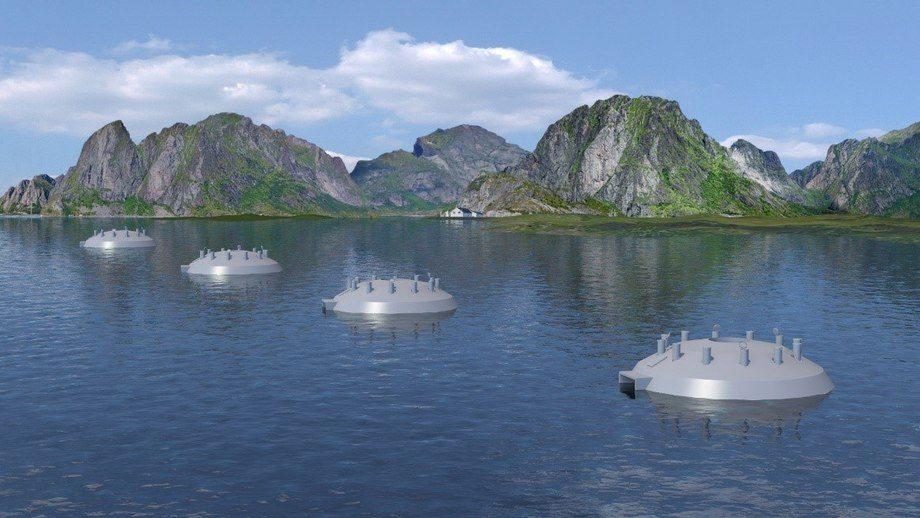 Lukket oppdrett i sjø: Slik kan en oppdrettslokalitet se ut om noen år. De 4 flytende, nedsenkbare globene kan erstatte 8–12 av dagens åpne merder.  Illustrasjon: FishGLOBE