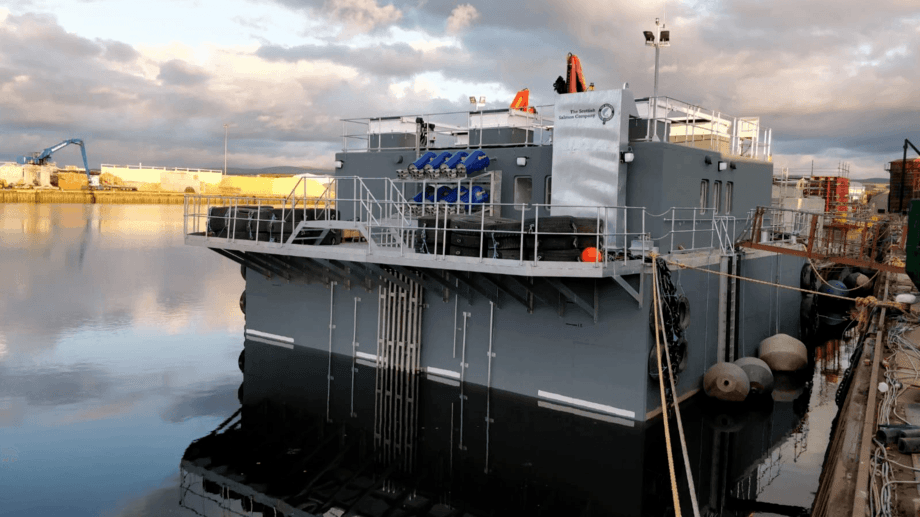 The Scottish Salmon Company's state-of-the-art barge, pictured nearing completion in Inverness. Photo: FFE.
