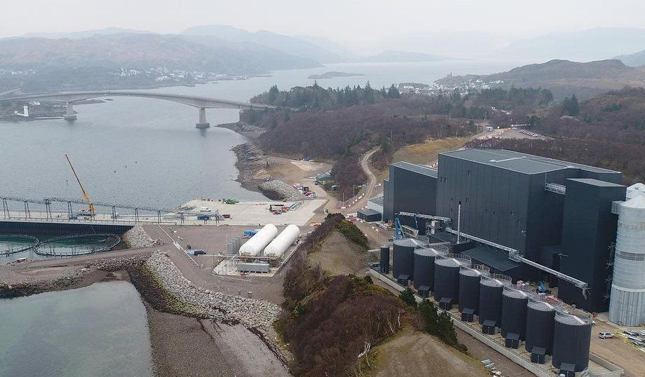 Mowi's feed plant at Kyleakin will produce 170,000 tonnes per year when it is fully up and running. Photo: Mowi Scotland.
