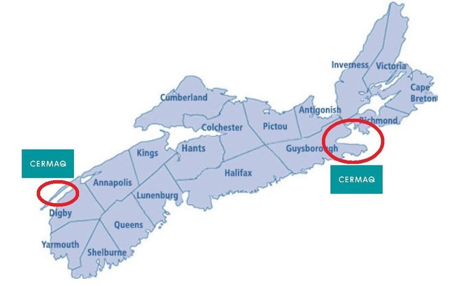 Cermaq is looking at sites on the east and west of Nova Scotia.