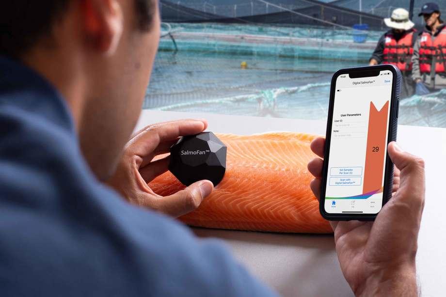 BioMar lanzó la aplicación de Digital SalmoFan™. Foto: BioMar.