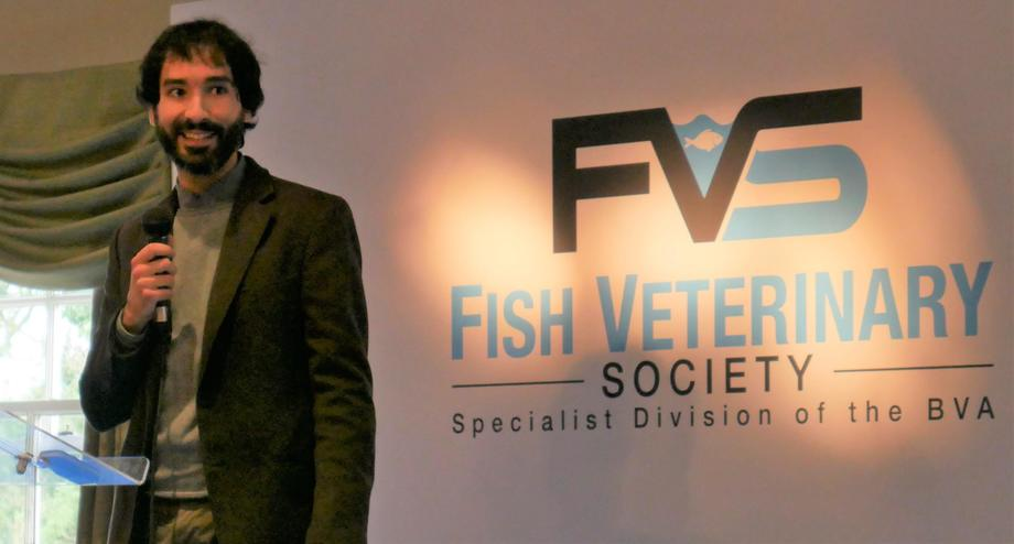 Alex Pargana talked about the success of the CPD course at the recent Fish Vet Society conference at Uphall, near Edinburgh. Photo: FFE.