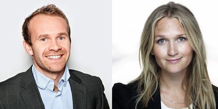 Kristin Langeland (36) blir ny kommunikasjonsdirektør og Henrik Wiedswang Horjen (32) ny kommunikasjonssjef i Sjømat Norge. Foto: Sjømat Norge