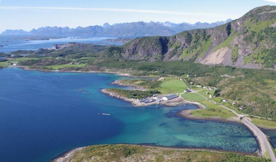 Oversiktsfoto av anlegget til Lødingen Fisk i Vestbygd. Foto: Lødingen Fisk.