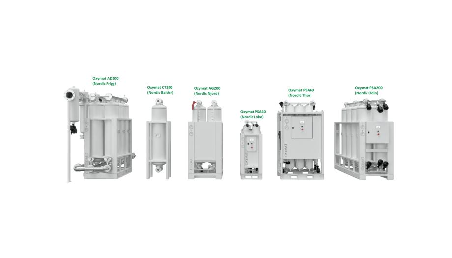 Den nye serien av PSA oksygengeneratorer. Foto: Oxymat