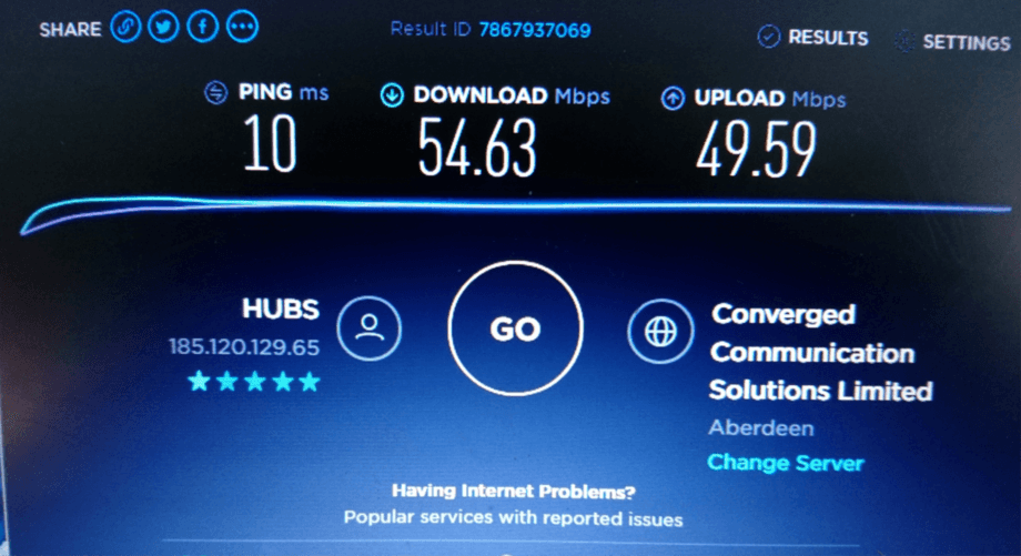 A 'ping' test shows that Rum's internet speed now matches that of many urban areas. Screen image: HebNet CIC.
