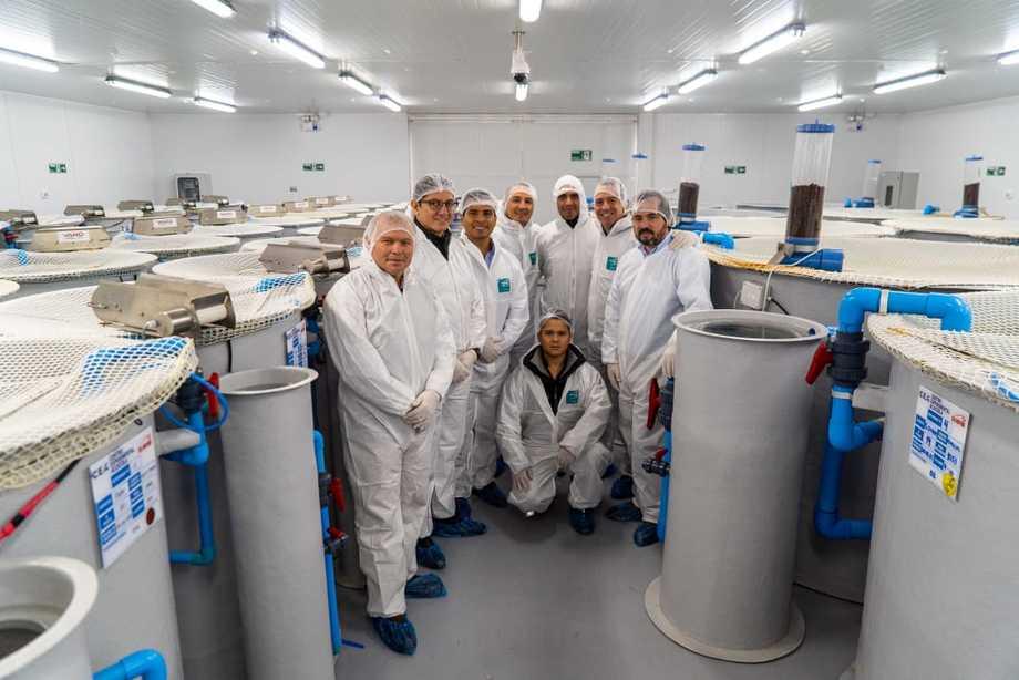 Una delegación de nueve clientes sudamericanos de Vitapro realizó una visita a la región de Los Lagos. Foto: Salmofood.
