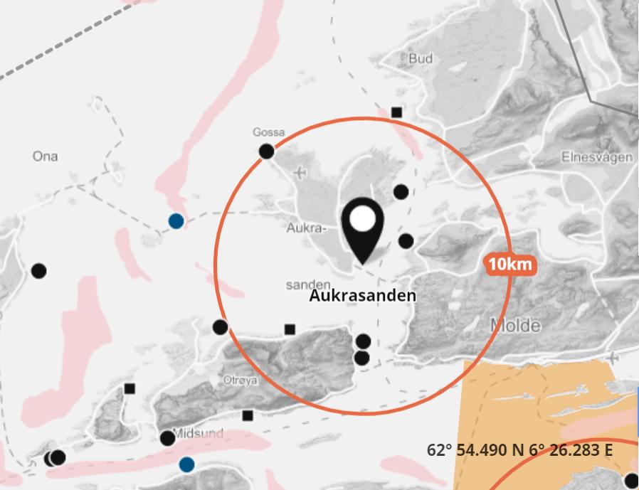 Det er mistanke om ILA på lokaliteten Aukrasanden. Skjermdump fra Barentswatch.