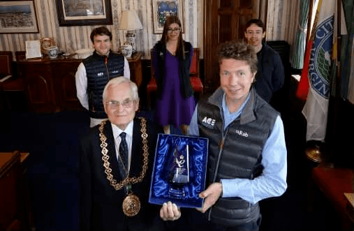 Ace Aquatec managing director Nathan Pyne-Carter receives last year's award in the presence of Dundee Lord Provost Ian Borthwick and, back from left, Ace Aquatec team members Andrew Gillespie, Michelle Wildboer and Mike Forbes. Photo: Ace Aquatec.