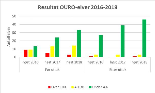 Styreleder i OURO Roar Paulsen forteller at andelen rømt oppdrettslaks ble redusert til under fire prosent i de fleste elver etter uttak. Tabellen: OURO