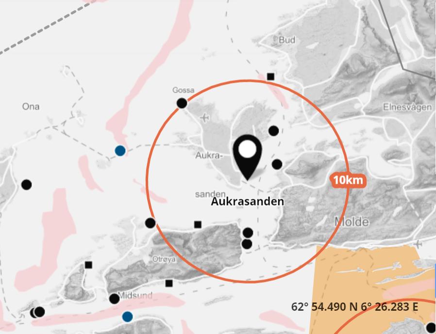 Det er påvist ILA på lokaliteten Aukrasanden. Skjermdump fra Barentswatch.