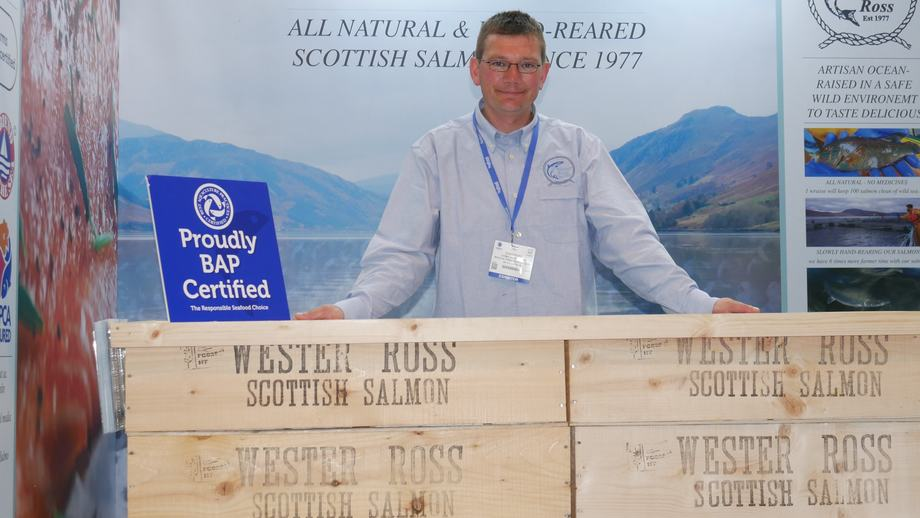 The one that got away (from his farm): Chris Ford, farm supervisor at Wester Ross Salmon's Corry site at Ullapool, is one of the few farm workers at an event targeted at sellers and buyers. Photo: FFE.