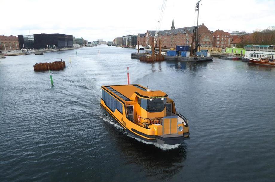 De gule havnebussene i København settes i trafikk allerede neste år. Illustrasjon: Arriva/Damen