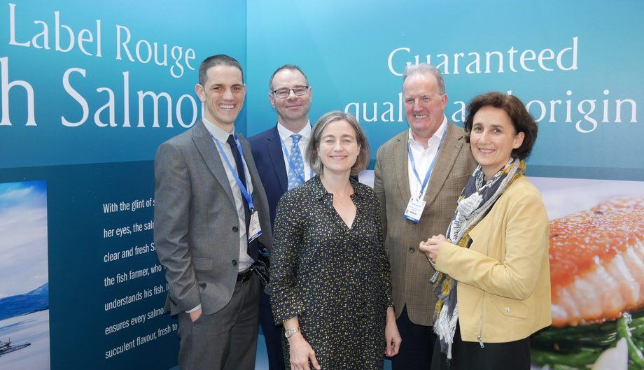The Scottish Salmon Producers' Organisation's team at Seafood Expo Global 2019. From left: Nathan Tyler, head of digital and communications; Hamish Macdonell, director of strategic engagement; Julie Hesketh-Laird, chief executive; David Sandison, general manager; Veronique Ehanno, in charge of Label Rouge exports. Photo: FFE.