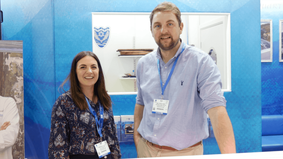Loch Duart sales staff Christina Fallah and Matthew Hurst, pictured at Seafood Expo Global in Brussels earlier this week, are among those who have helped ensure the company's export success. Photo: FFE.