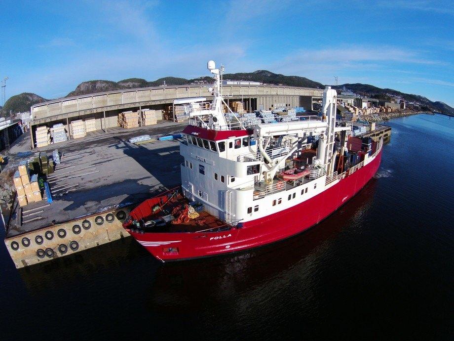 MS Folla2 settes inn i en prøverute fra Trondheim til Øksfjord. NTS Shipping håper på flere faste oppdrag. Foto: NTS Shipping AS.