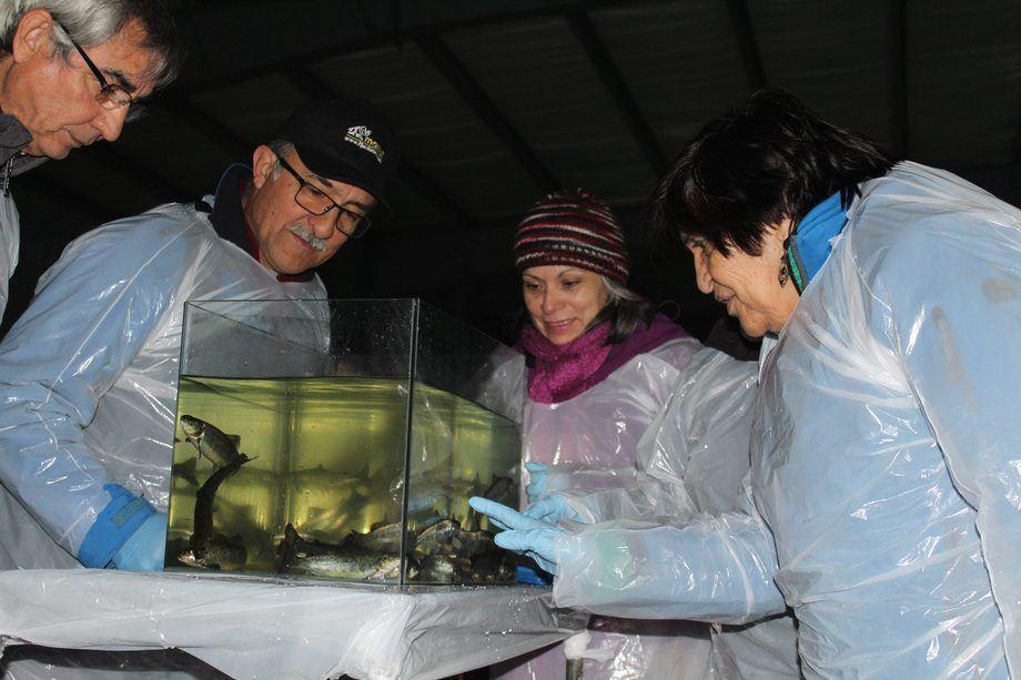 El grupo de representantes de distintas organizaciones, entre ellas varias juntas de vecinos, dieron a conocer sus inquietudes respecto de la industria. Foto: Asociación de Salmonicultores de Magallanes.