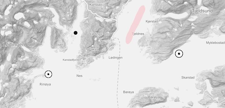 Lokaliteter i Ofotfjorden som tilhører Ellingsen Seafood og Mortenlaks er også rammet av algeoppblomstring. Kilde: Barentswatch.