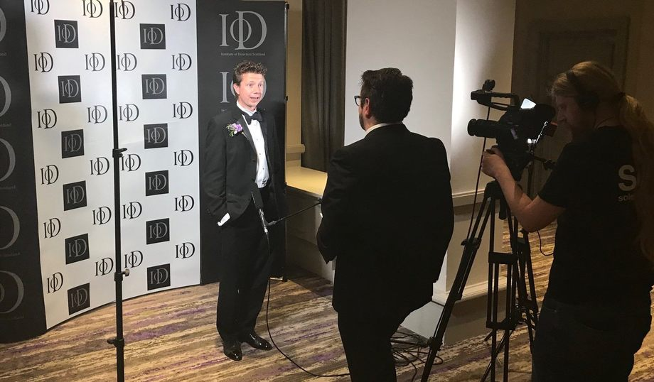 Nathan Pyne-Carter is interviewed after being named IoD Scotland's Director of the Year Innovation last night. Photo: Ace Aquatec.