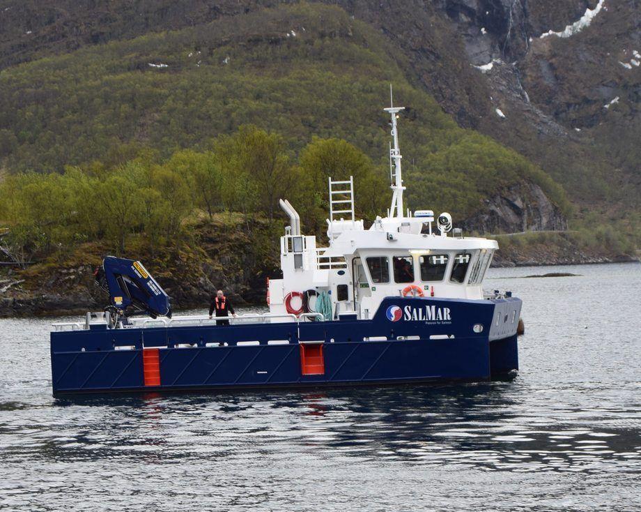 «Lomtind» - ny oppdrettskatamaran bygget ved Grovfjord Mek. Foto: Grovfjord Mek Verksted.