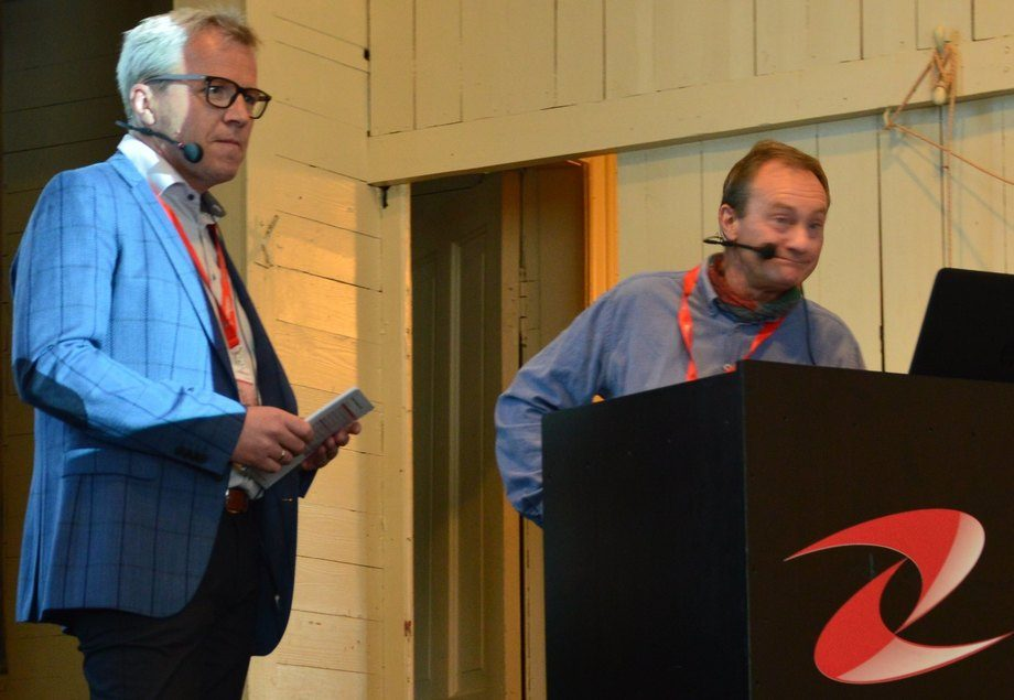 Jim-Roger Nordly fra Europharma sammen med Ole Bendik Dale på fjorårets arrangement. Foto: Ole Andreas Drønen