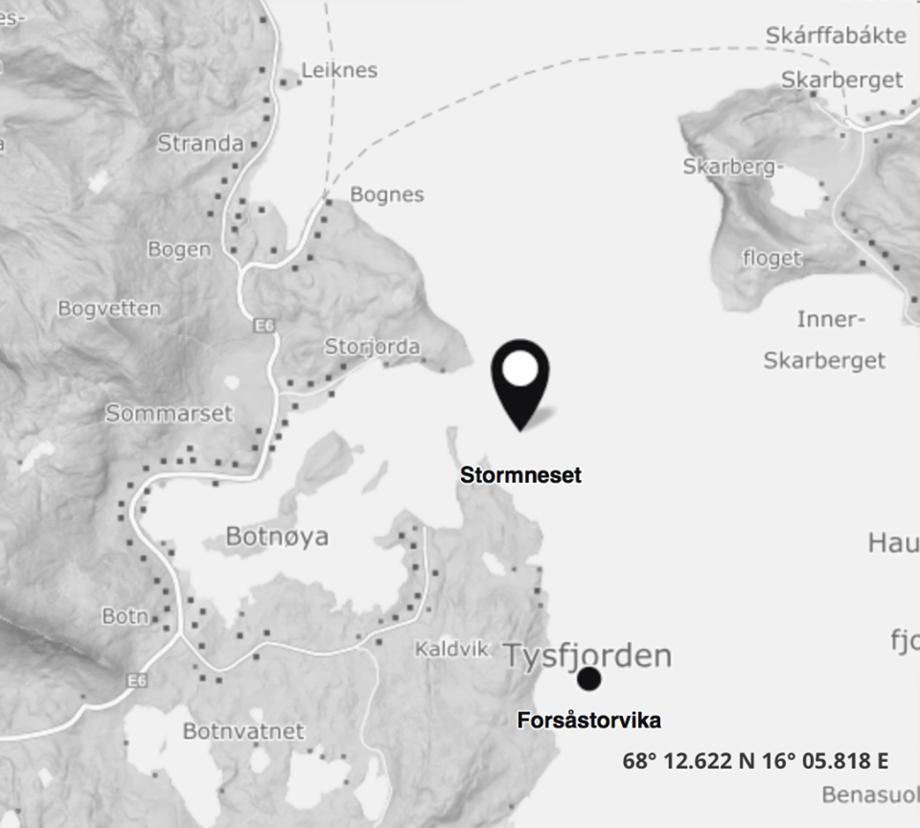 Rundt 20 000 smolt er tapt inntil videre på lokaliteten Stormneset i Nordland. Skjermdump: BarentsWatch.