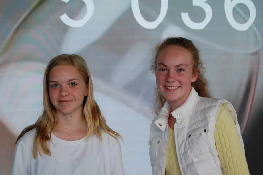 Skoleelevene Saga Elin Johanna Wireen (t.v) og Nina Skar (t.h) har besøkt visningssenteret The Salmon, og synes at opplevelsen har vært lærerikt og spennende. Foto: Harrieth Lundberg. Det er flere bilder nederst i artikelen.