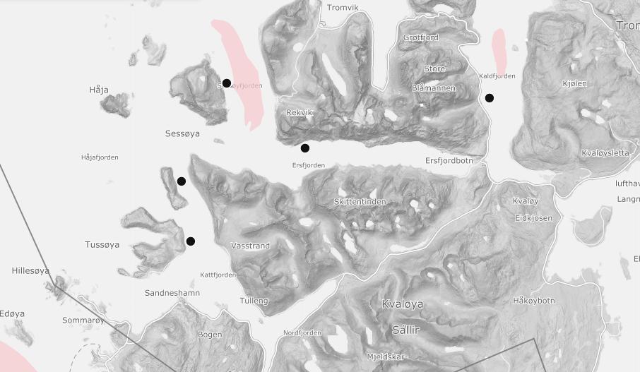 Det er foreløpig ukjent hvilke lokaliteter som er rammet. Illustrasjonsfoto av alle lokalitetene som ligger på yttersida av Kvaløya i Troms. Skjermdump: BarentWatch.