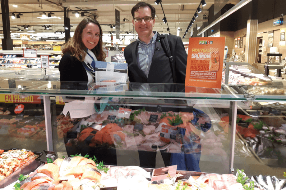 Veramaris chief executive Karim Kurmaly inside one of the stores selling salmon fed with his company's algal oil. Photo: Veramaris.