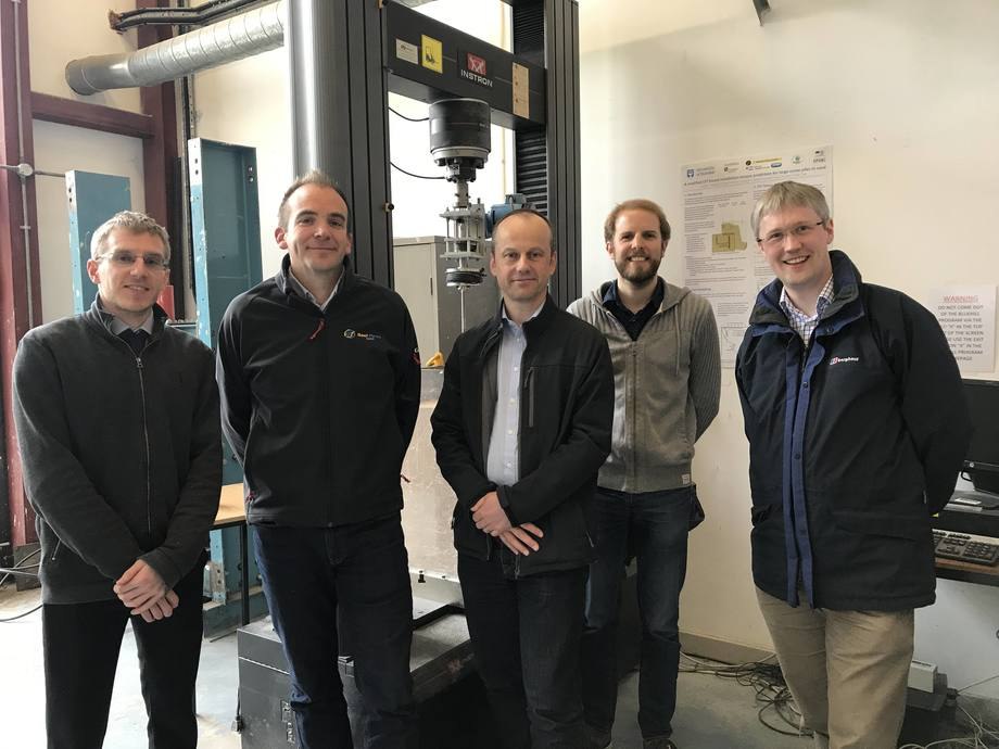 From left: Adam Caton (Sustainable Marine Energy), Jamie Young (Gael Force), Andy Hunt (SME), Benjamin Cerfontaine and Jonathan Knappett (both University of Dundee). Photo: SAIC.