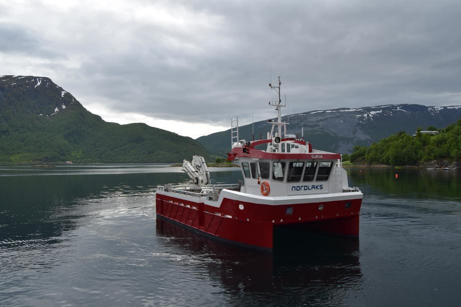 «Gjæva» er navnet på den 14-meter lange båten som Grovfjord Mekaniske Verksted har overlevert til Nordlaks. Foto: Grovfjord Mek. Verksted