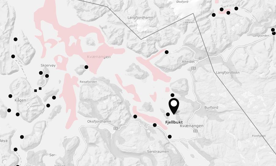 Mapa con la localización de sospecha de ISA. Foto: Mowi