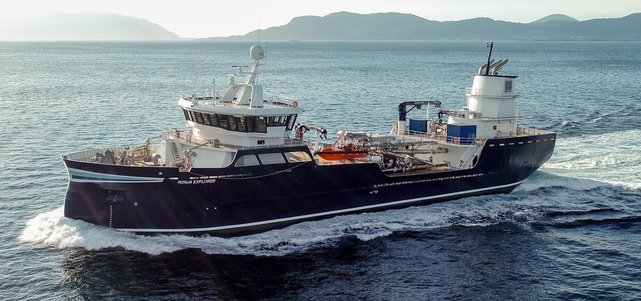 The Ronja Explorer is the first of the AAS 2502 ST-class designed with a shallow draft to make access to some Scottish sites easier, although in this case the wellboat will go to work in Norway. An identical boat will go to work for SSC. Photo: Aas.