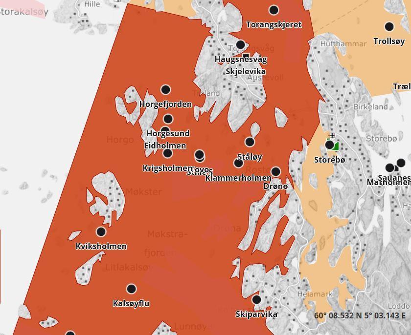 Mattilsynet medler at de vurderer å utvide bekjempelsessonen i Austevoll, Sund og Os kommune. Illustrasjon: Barentswatch