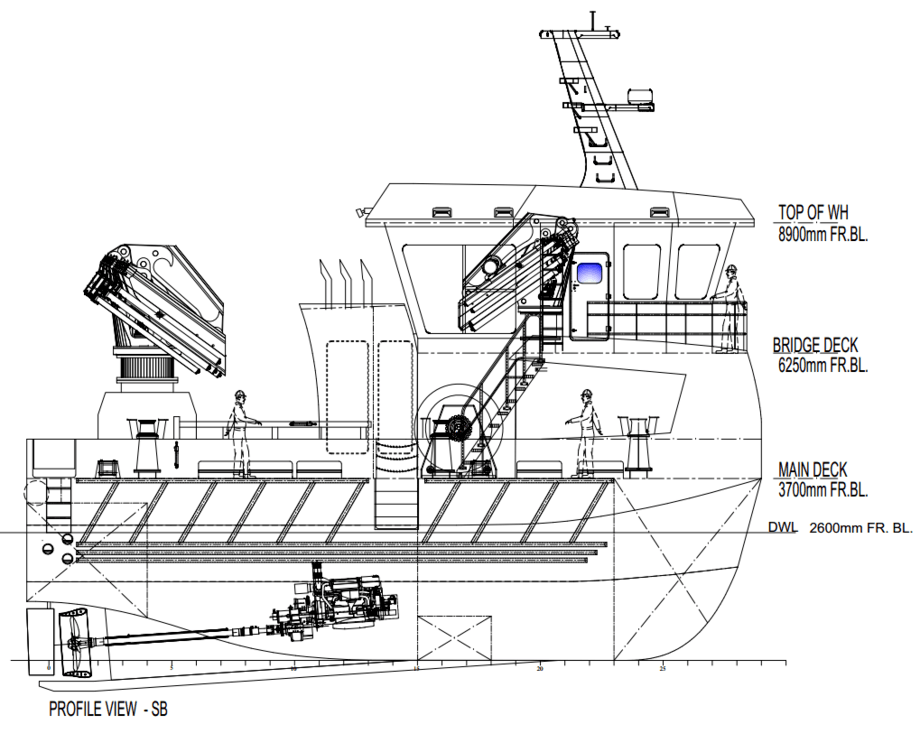 Aksel Ivan Bringsvor, daglig leder i Sandsøy Servicebåt AS forteller at båten er planlagt levert i desember 2019 og vil davære tilgjengelig for selskapets eksisterende avtalekunder. Illustrasjon: Sandøy Servicebåt AS.