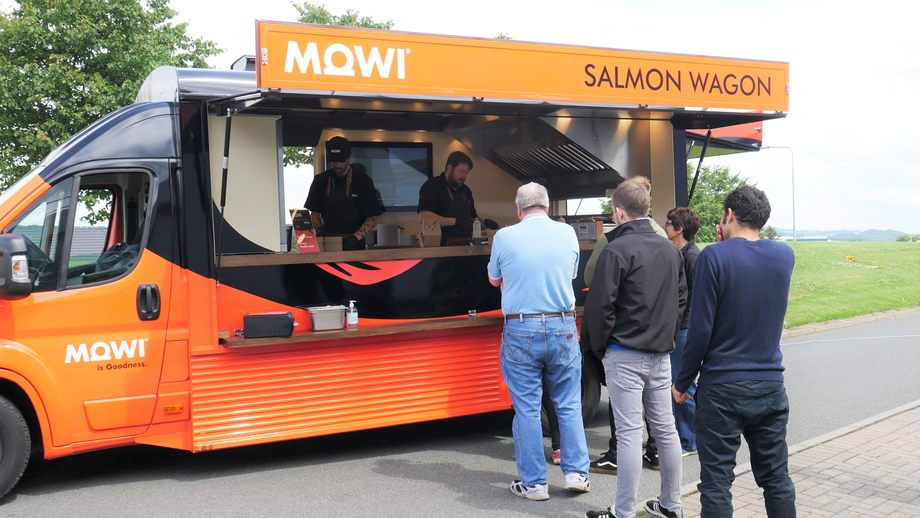 Staff at Mowi's secondary processing plant at Rosyth are served lunch from the Salmon Wagon. Photo: Fish Farming Expert.