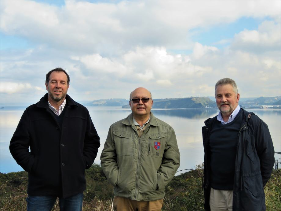 Impulsores de Oatech: Rodrigo Sánchez, Héctor Ruiz y Cristino Stange. Foto: Karla Faundez, Salmonexpert.