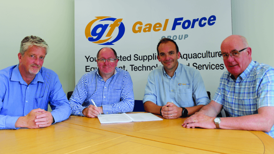 From left: Organic Sea Harvest directors Robert Gray and Alex MacInnes, Gael Force sales director Jamie Young, and OSG director Alister Mackinnon. Photo: Gael Force.