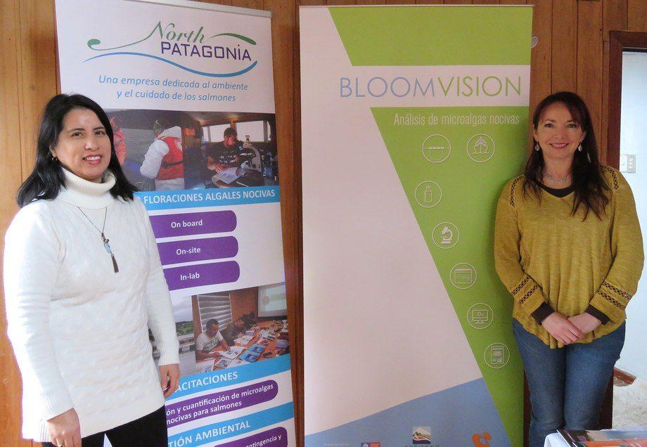 Directora ejecutiva de North Patagonia, Claudia Uribe y directora ejecutiva de Bloom Vision, Nathalie Fuica. Foto: Karla Faundez, Salmonexpert.