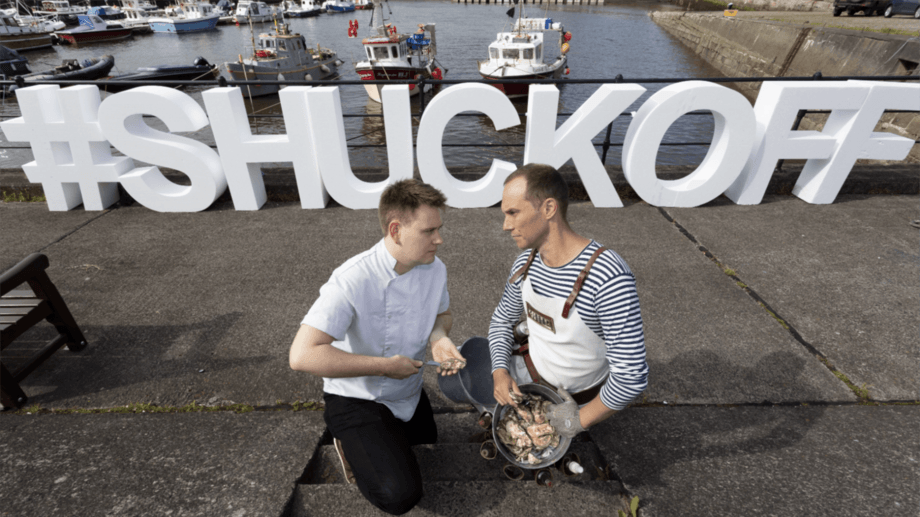 This could be one shell of a contest: Gordon Reekie, chef at That's Yer Dinner, left, and Ferran Segeur Meyfroodt, head oyster shucker at Oysterman Events. Photo: Seafood Scotland.