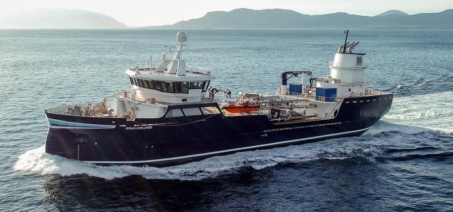 Den 70 meter lange brønnbåten «Ronja Explorer» er levert til Sølvtrans. Foto: Aas Mek.