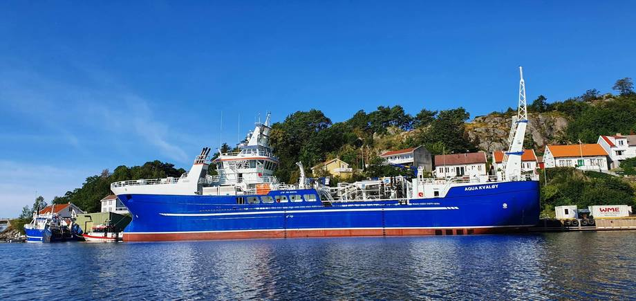 «Aqua Kvaløy» er den andre av to identiske båter til Dess Aquaculture fra Crist Verftet i Polen. Foto: