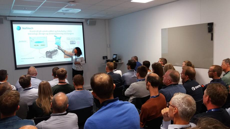 Tirsdagens Nofitech seminar om sjøvann i RAS var populært. Foto: Harrieth Lundberg