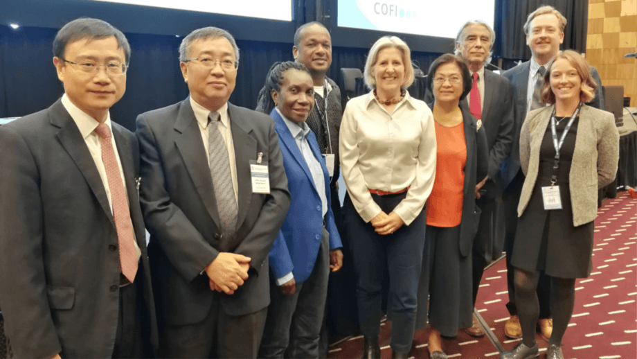 SAMS professor Elizabeth Cottier-Cook, centre, with members of the UN Food and Agriculture Organisation (FAO) sub-committee on aquaculture in Trondheim. Photo: SAMS.