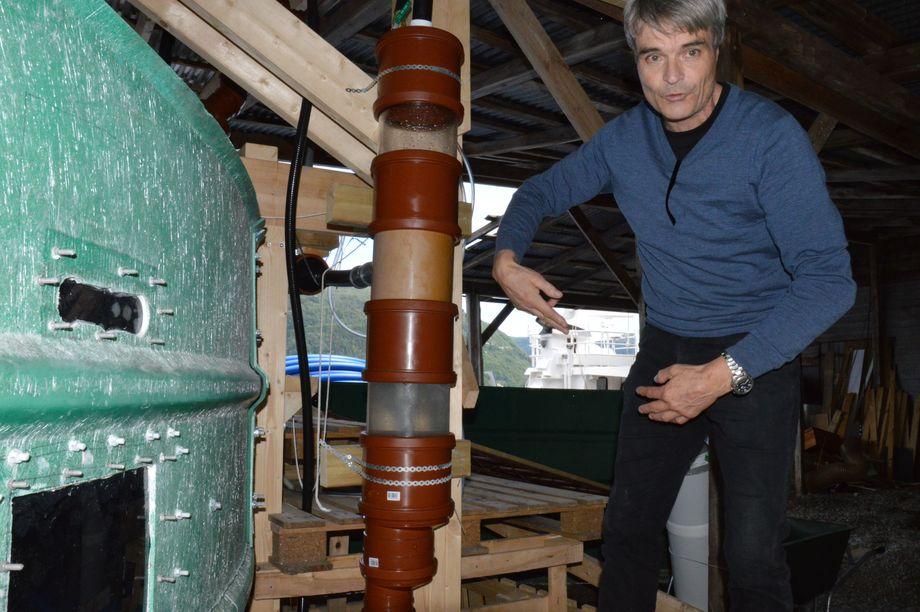 Kyst.no har tidligere vært og sett på den første prototypen av SeaRAS sitt system som er bygget opp i Ytre Arna i Bergen. Foto: Pål Mugaas Jensen