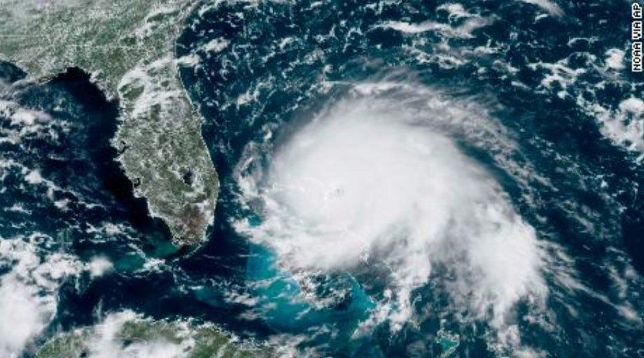 Hurricane Dorian earlier today, with Florida to its left. Photo: NOAA / AP / CNN.