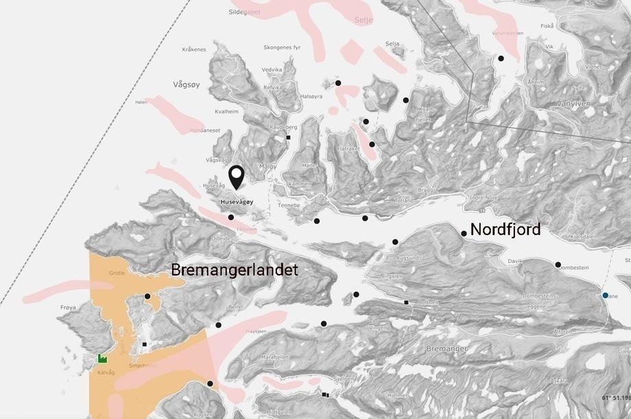 Ubicación de la piscicultura que verá detenida su construcción. Ilustración: Captura de pantalla de Barentswatch.