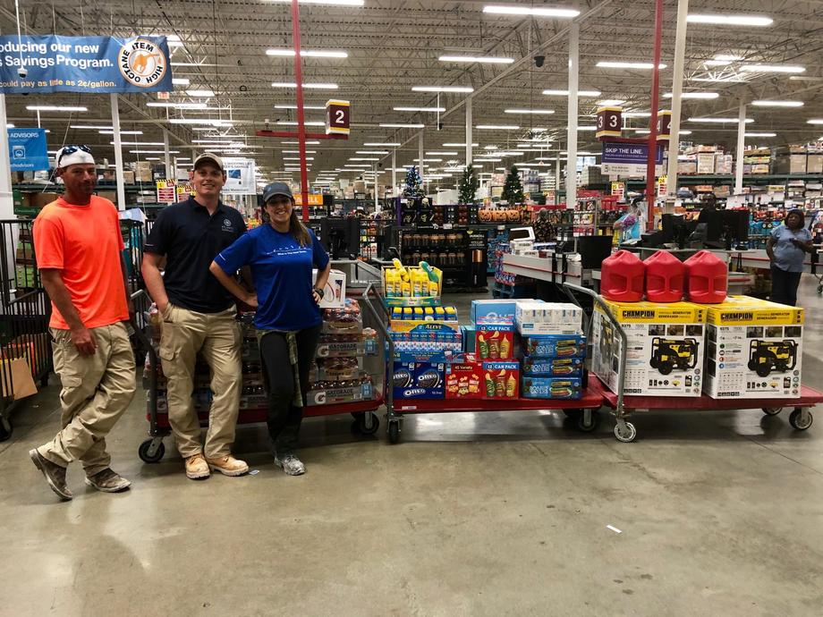 Atlantic Sapphire employees shopping for essential items to donate to victims of Hurricane Dorian which has left thousands homeless in The Bahamas. Image: Atlantic Sapphire.